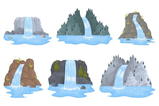 Wodospad rzeki spada z klifu. krajobrazy, góry i drzewa.