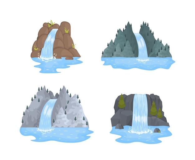 Wodospad rzeki spada z klifu na białym tle