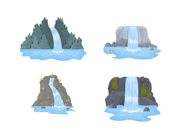 Wodospad rzeki spada z urwiska na białym tle
