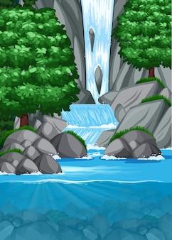 Wodospad w stawie sceny