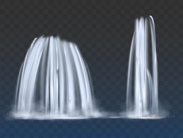 Wodospady lub fontanny płyną 3d realistyczny wektor
