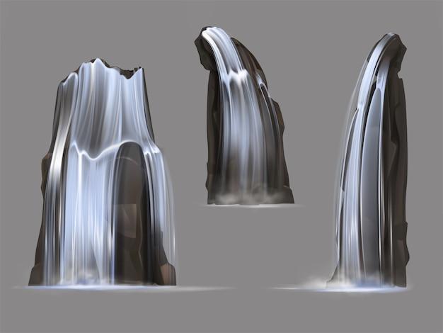 Wodospady z kaskadami o różnych kształtach