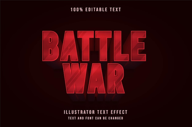Wojna bitewna, edytowalny efekt tekstowy 3d nowoczesny styl tekstu gradacji czerwonej