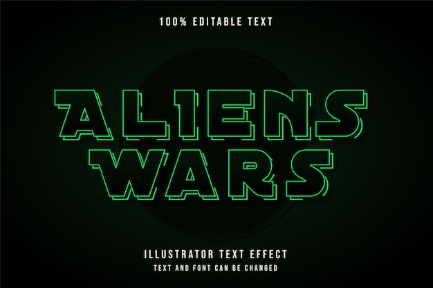 Wojny kosmitów, edytowalny efekt tekstu w stylu tekstu z zieloną gradacją neonowego cienia