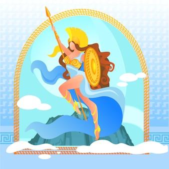 Wojownicza bogini atena w złotej zbroi na górze