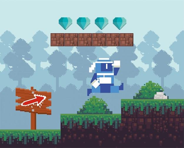Wojownik gier wideo skacze w pikselowej scenie