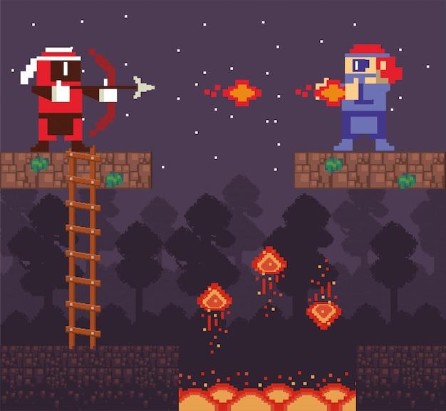 Wojownik gier wideo strzelający w pikselowej scenie