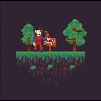 Wojownik gier wideo w pikselowanej scenie