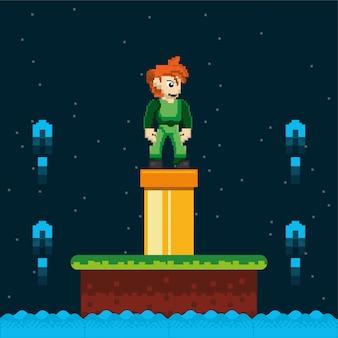 Wojownik gry i potok w pikselowej scenie