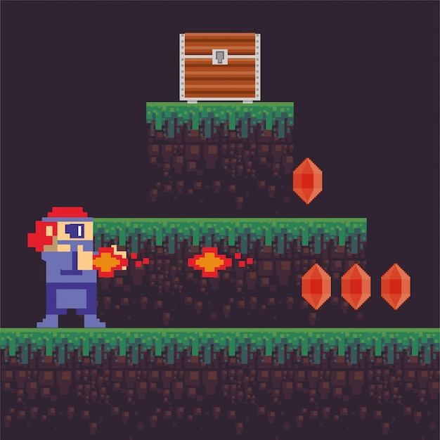 Wojownik gry wideo strzelanie z broni w pikselowej scenie