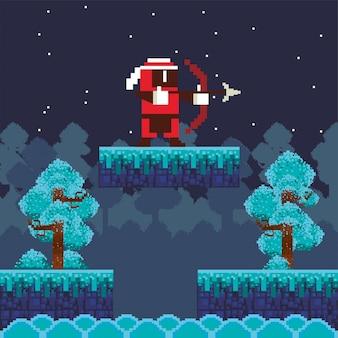 Wojownik łucznictwo gry wideo w pikselowej scenie