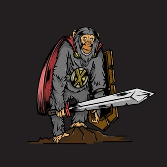 Wojownik małpa z tarczą i mieczem ilustracji