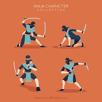 Wojownik ninja w różnych pozach o płaskiej konstrukcji