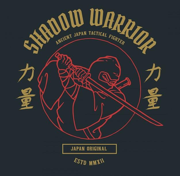 Wojownik ninja z japońskim słowem oznacza siłę