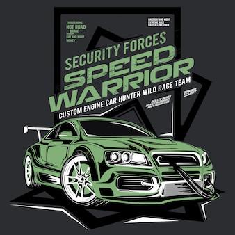 Wojownik prędkości, samochód sił bezpieczeństwa, ilustracja drift samochodu sportowego