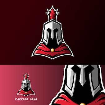 Wojownik spartański rycerz rzymski sport logo szablon e-sportu