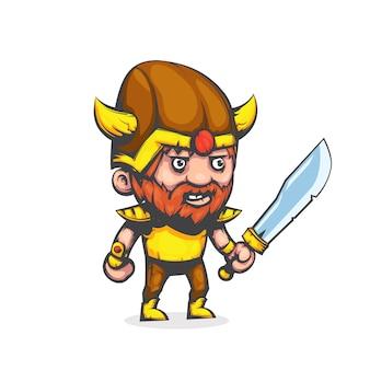 Wojownik wikingów w stylu cartoon