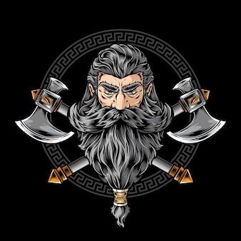 Wojownik wikingów z logo topora