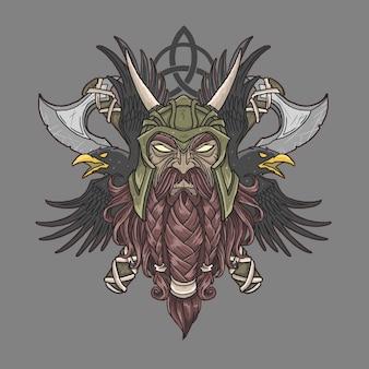 Wojownik wikingów z siekierą