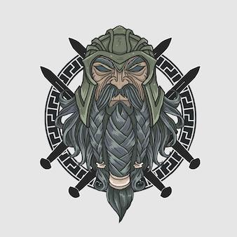 Wojownik z pełną brodą zbroją