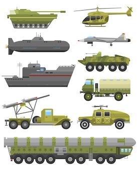 Wojskowa armia wojskowa, kolekcja czołgów wojennych i wojskowych zbiorników pancernych
