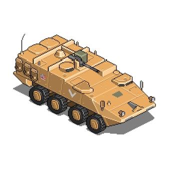 Wojskowy pojazd do ilustracji aktywów gry w pikselach wojennych