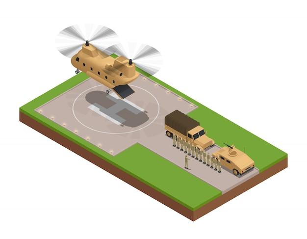 Wojskowy skład izometryczny z chwilą wylądowania dużego helikoptera towarowego na ilustracji podstawowej