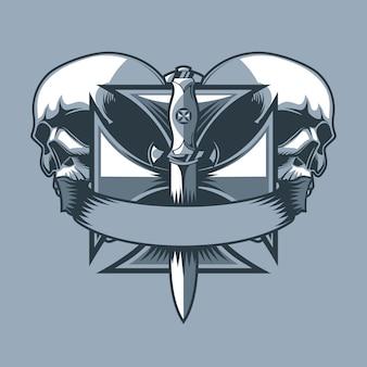 Wojskowy sztylet na krzyżu rycerza. monochromatyczny styl tatuażu.