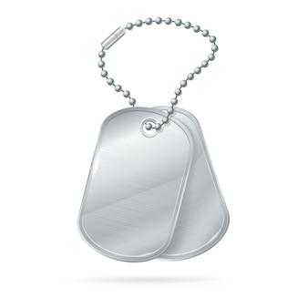 Wojskowy zestaw identyfikatorów silver army medalion.