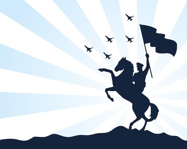 Wojskowy żołnierz macha flagą w sylwetka konia na białym tle