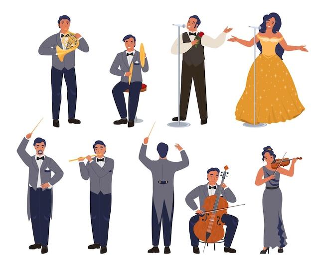 Wokalista teatru operowego i muzyk zestaw znaków, płaska ilustracja. koncert muzyki klasycznej, orkiestra symfoniczna.