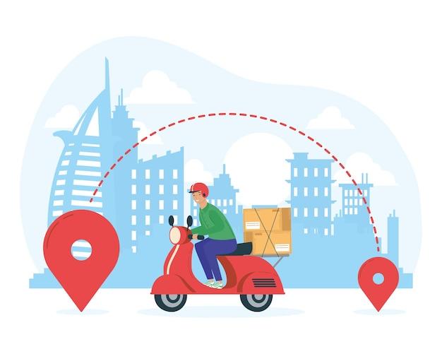 Woker usługi dostawy w motocyklu na projekcie ilustracji miasta