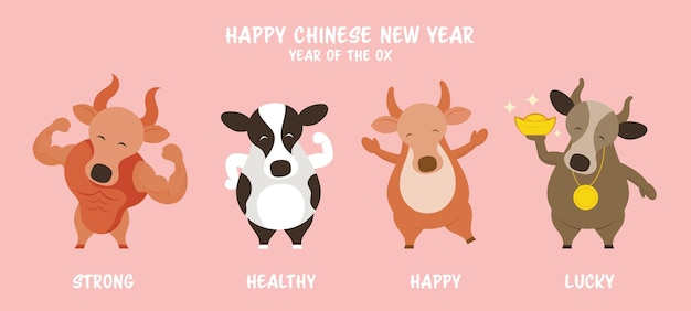 Wół krowa bull powitanie znaków, chiński nowy rok