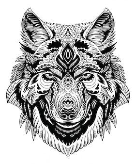 Wolf head zentangle
