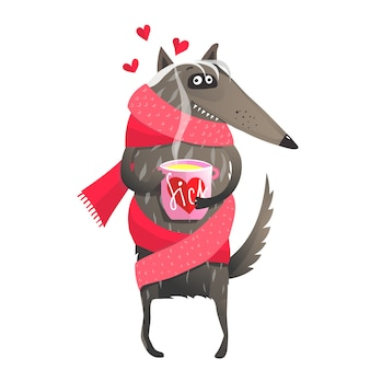 Wolf sick in love picie herbaty