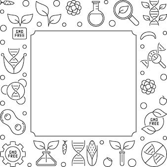 Wolna od gmo kwadratowa ramka lub ilustracja kontur