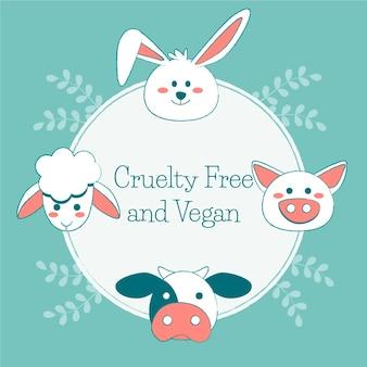 Wolna od okrucieństwa i wegańska wiadomość obok narysowanych zwierząt