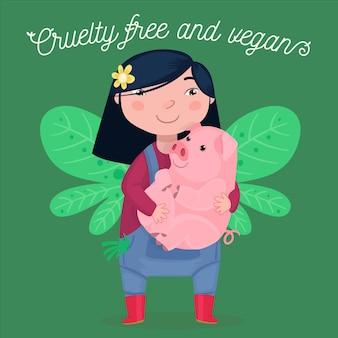 Wolna od okrucieństwa i wegańska wiadomość z ilustracją kobiety trzymającej świnkę