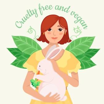 Wolna od okrucieństwa i wegańska wiadomość z ilustracją przedstawiającą kobietę trzymającą królika