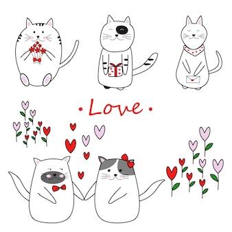 Wolna ręka rysować uroczego kota w miłości na walentynki