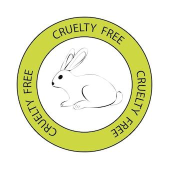 Wolne od okropności. symbol królika z napisem okrucieństwo wolne wokół. ikona z napisem nie testowana na zwierzętach. pieczęć vegan, cruelty free, organic i natural. ilustracja wektorowa