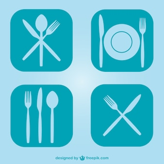 Wolne płaskie naczynia kuchenne symbole