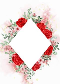 Wolność róża czerwony kwiat ramki tło z białą przestrzenią romb
