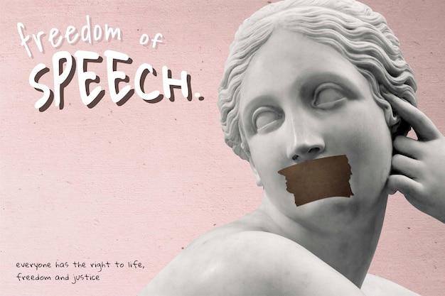 Wolność słowa wektor kampanii praw człowieka różowy plakat