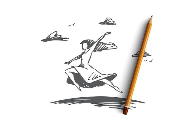 Wolność, szczęście, kobieta, mucha, koncepcja miłości. ręcznie rysowane szczęśliwy wolna kobieta skoki i latający szkic koncepcji.