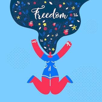 Wolność, szczęście płaski web banner szablon