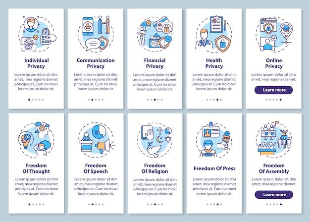 Wolności człowieka i prywatność na ekranie strony wprowadzającej aplikację mobilną z ustawionymi koncepcjami. wolność prasy. instrukcje graficzne kroków solucji. szablon ui z kolorowymi ilustracjami rgb