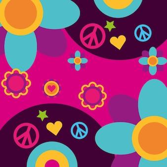 Wolny duch muzyka winylu dysk kwiaty serce spokój i miłość