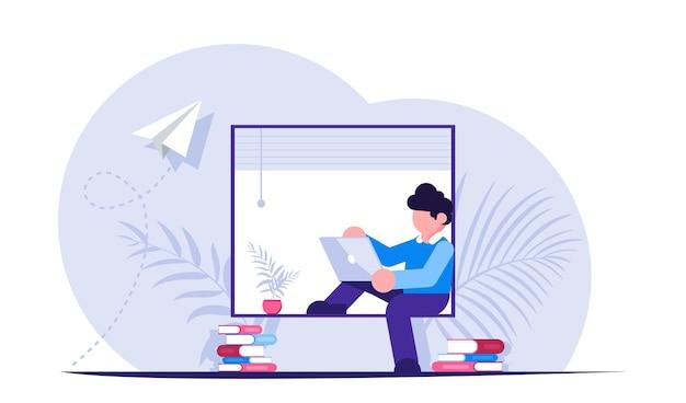 Wolny strzelec lub pracownik podczas pracy na odległość siedzi z laptopem na parapecie w pobliżu okna