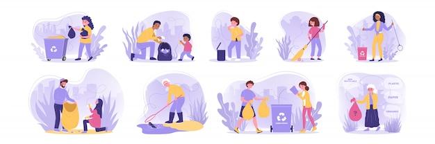 Wolontariat, ekologia, praca, recykling zestaw koncepcji